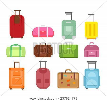 Vector Illustration Set Of Different Types Bags For Travel Isolated On White Background, Suitcase Jo