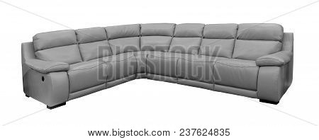 Modern Large Grey Leather Sofa Isolated On White With Clipping Path