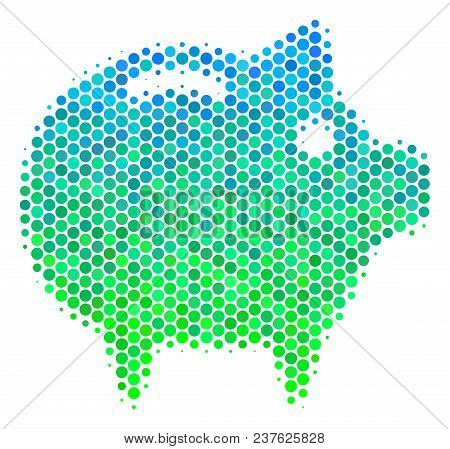 Halftone Circle Piggy Bank Icon. Pictogram In Green And Blue Color Tints On A White Background. Vect