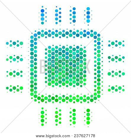 Halftone Dot Processor Pictogram. Icon In Green And Blue Color Hues On A White Background. Vector Co