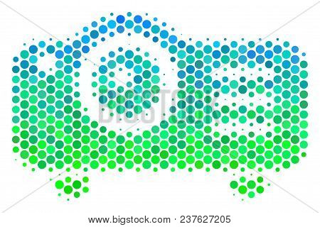 Halftone Round Spot Projector Icon. Pictogram In Green And Blue Color Tinges On A White Background.