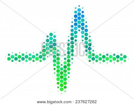 Halftone Circle Pulse Icon. Pictogram In Green And Blue Color Tinges On A White Background. Vector C