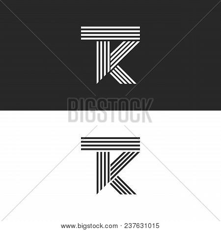 Logo Tk Letters Monogram Linear Style, Combination Overlapping Two Letters T And K . Black And White