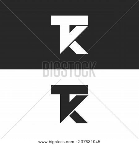 Letters Tk Logo Monogram, Combination Two Letters T And K Initials, Minimal Style Kt Identity Mark E