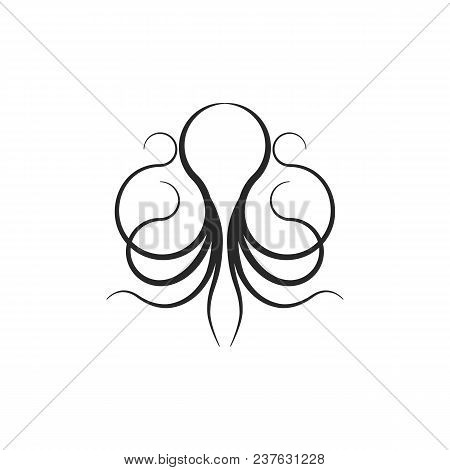 Octopus Logo Or Silhouette Squid Shape Linear Tattoo Design Template. Seafood Restaurant Menu Thin L