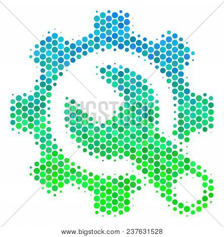 Halftone Round Spot Service Tools Pictogram. Icon In Green And Blue Color Tones On A White Backgroun
