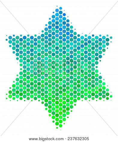 Halftone Round Spot Six Pointed Star Icon. Pictogram In Green And Blue Color Tinges On A White Backg