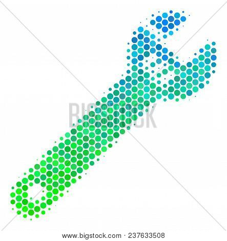 Halftone Dot Spanner Icon. Icon In Green And Blue Color Tinges On A White Background. Vector Pattern