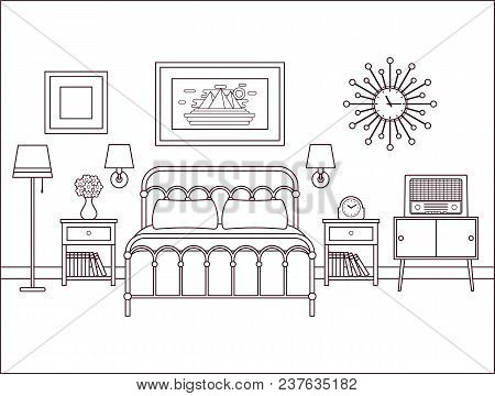 Bedroom Interior. Hotel Retro Room With Bed. Vector. Outline Home Space In Line Art Flat Design. Hou