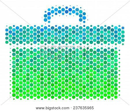 Halftone Circle Toolbox Icon. Pictogram In Green And Blue Color Hues On A White Background. Vector C