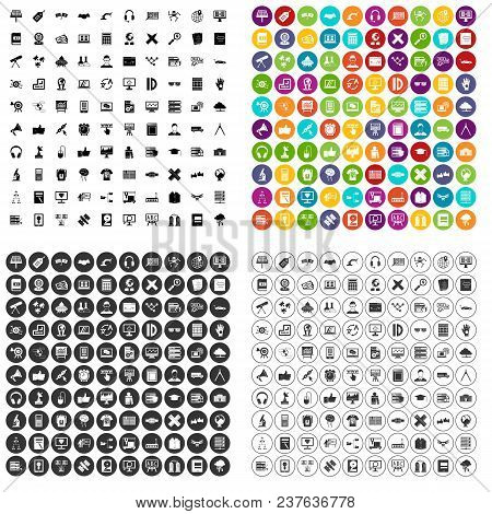 100 Education Technology Icons Set Vector In 4 Variant For Any Web Design Isolated On White