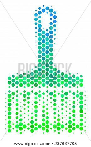 Halftone Dot Wide Brush Icon. Pictogram In Green And Blue Shades On A White Background. Vector Patte