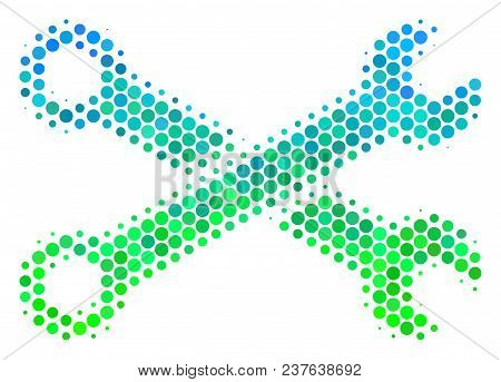 Halftone Circle Wrenches Icon. Icon In Green And Blue Color Hues On A White Background. Vector Compo