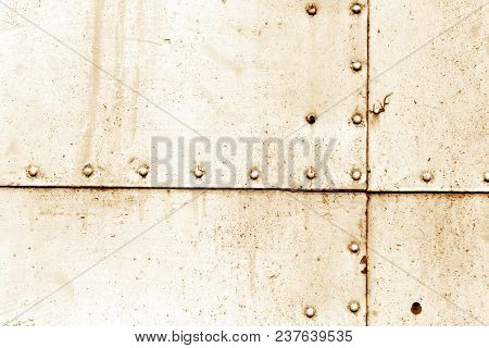 Rusty Metal Wall Texture In Orange Tone. Abstract Background And Texture For Design.