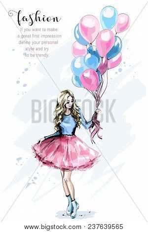 Hand Drawn Beautiful Young Woman With Colorful Balloons. Fashion Blond Hair Woman. Stylish Girl. Ske