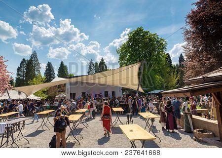 Bad Saeckingen, Germany - April 21th 2018: Mittelalterlich Phantasie Spectaculum - Biggest Middle Ag