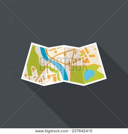 Map Location Flat Concept With Long Shadow