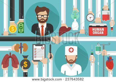 Human Transplatation Flad Design Business With Doctor And Businessman.vector Illustration
