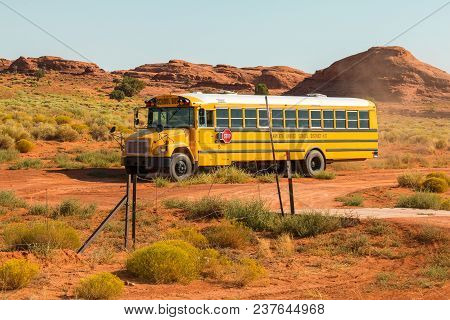 Arizona, Usa- September 01, 2017: School Bus On The Side Of The Highway In Monument Valley, Utah And