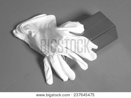 White Gloves With Silver Bullion On Gray