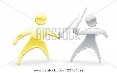Metallic Character Swordfight