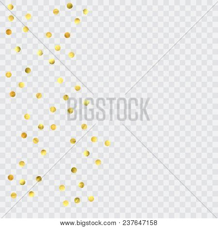 Foil Gold Confetti. Glow Vector Celebrate Background. Watercolor Golden Sparkles And Dots. Explosion