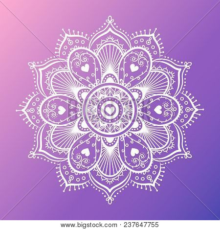 Round White Mandala On Dreamy Gradient Background. Vector Hipster Design In Violet And Pink Colors.