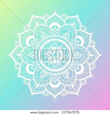 Round Gradient Mandala On Gradient Background. Vector Boho Mandala In Green And Pink Colors. Mandala