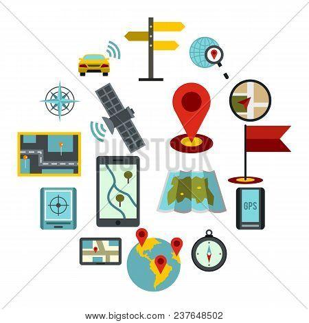 Flat Navigation Icons Set. Universal Navigation Icons To Use For Web And Mobile Ui, Set Of Basic Nav