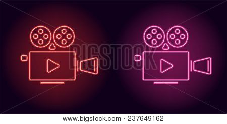 Neon Cinema Projector In Red And Pink Color. Vector Illustration Of Cinema Projector With Play Icon