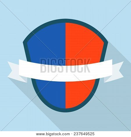 Colored Shield Icon. Flat Illustration Of Colored Shield Vector Icon For Web