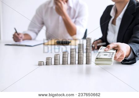 Business Accountant Or Banker, Two Business Partner Analysis With Stock Financial Indices And Growth
