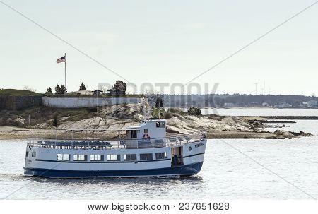 Fairhaven, Massachusetts, Usa - April 24, 2018: Passenger Ferry Viking Passing Fort Phoenix As She H
