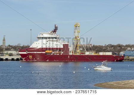 New Bedford, Massachusetts, Usa - April 24, 2018: Geotechnical Drilling Vessel Dina Polaris Docked A