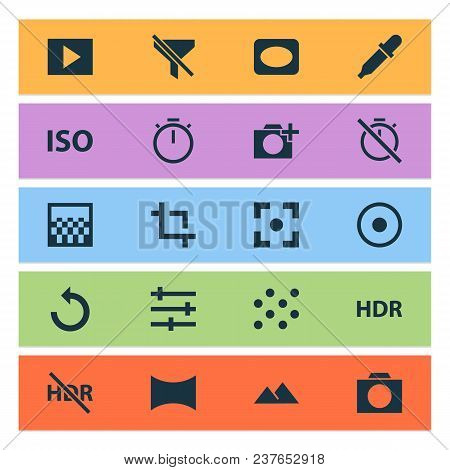 Photo Icons Set With Photographing, Pattern, Tune And Other Filtration Elements. Isolated Vector Ill