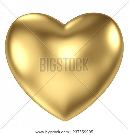 Gold heart on white background. 3D rendering.