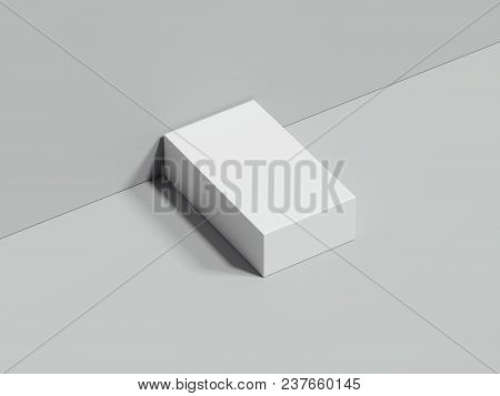 White Rectangular Box Stands Next To The Grey Wall And On Grey Floor, 3d Rendering