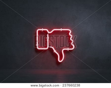 Red Electrical Thumb Down Symbol On Black Wall, 3d Rendering