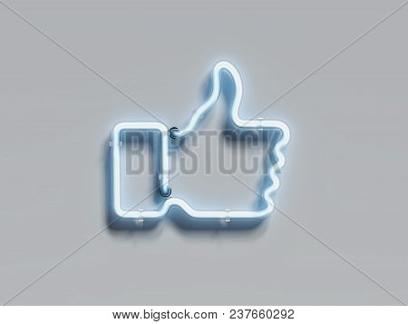 Light Blue Electrical Thumb Up On Light Grey Wall, 3d Rendering