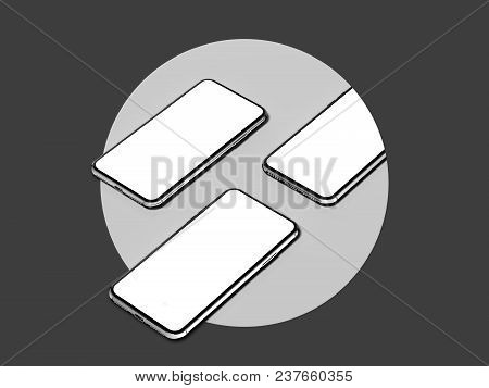 3 Mobile Phones In A Light Grey Circle On A Dark Grey Background, 3d Rendering