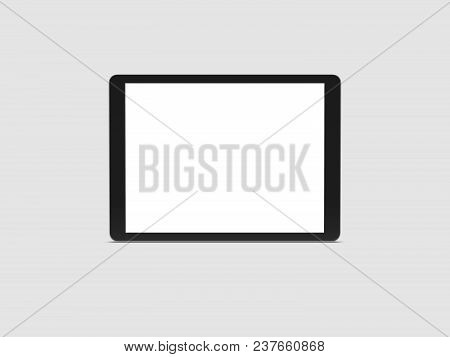 Realistic Black Tablet With White Screen On Grey Background, 3d Rendering