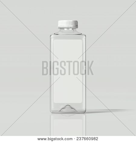 Transparent Isolated Bottle Of Water With Label On Light Grey Background, 3d Rendering