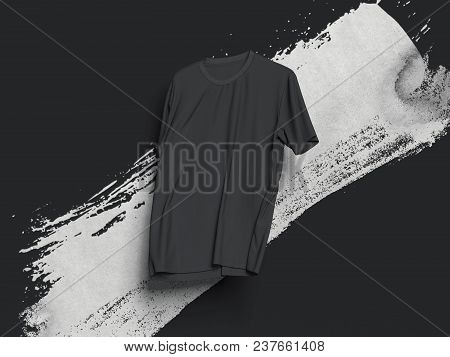 Black Realistic T-shirt On Black Background With White Smear, 3d Rendering