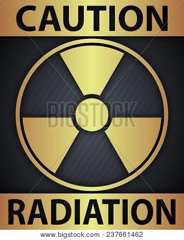 Radiation Grunge Symbol On On White Background. Vector Illustration.style Sepia.