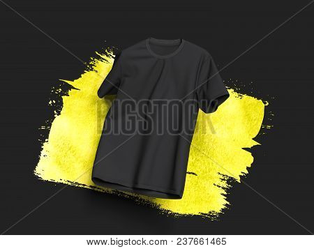 Black Realistic T-shirt On Black Background With Light Yellow Smear, 3d Rendering