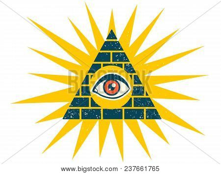 Vector Vintage Illustration Of A Pyramid With Eye. Pyramid With Eye On Vintage Style.