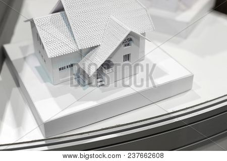 Architecture, Design, Infrastructure Concept. Close Up Of Small White Cardboard Model Of The House W