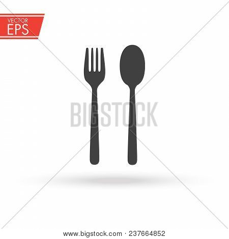 Fork And Spoon In Black Simple Silhouette Style Icons Vector Illustration For Design And Web Isolate