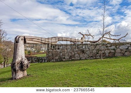 Vila Nova de Famalicao, Portugal - March 31, 2018: Urban art made of a dead tree with a hinge in Parque da Devesa Urban Park.
