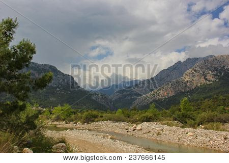 View Of A Small River, Mountains, Different Types Of Plants, Conifers, The Sky With Contrasting Clou